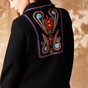 Free People Lambswool Boho Embroidered Peacoat